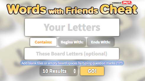 <small><small>Cheat for </small></small>Words With Friends